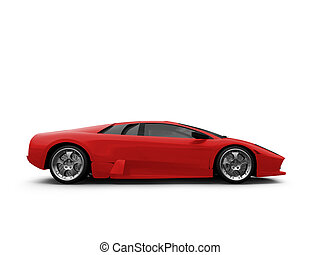 Ferrari isolated red side view - isolated sport car on white...