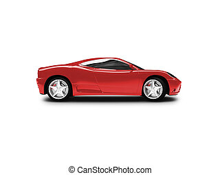 isolated red super car side view - red super car on a white...