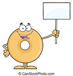 Happy Donut Holding Up A Blank Sign - Happy Donut Cartoon...