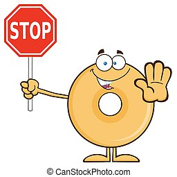Smiling Donut Holding A Stop Sign