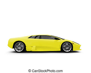 Ferrari isolated yellow side view - isolated sport car on...