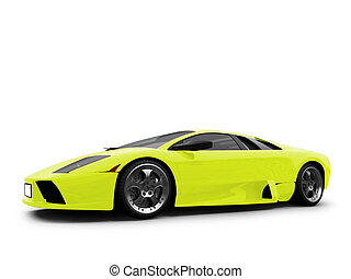 Ferrari isolated yellow front view - isolated sport car on...