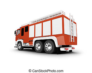 Firetruck isolated back view - firetruck on white background...