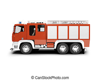 Firetruck isolated side view - isolated firetruck on white...