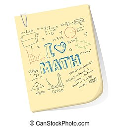 I Love Math - Vector illustration of math doodle on clipped...