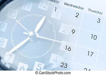 Clock and calendar - Clock face and calendar composite