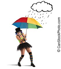 Clowns with rainbow umbrella sheltering from rain