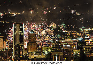 Portland Oregon, USA Fireworks - View of Portland Oregon,...