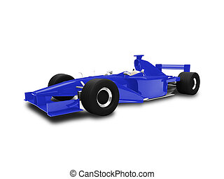 isolated blue speed car front view - sport speed car on...