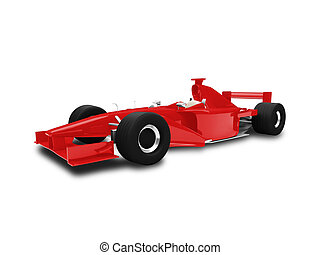 isolated red speed car front view - sport speed car on white...