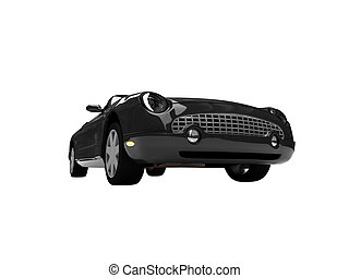 isolated black car front view 04 - isolated american car on...