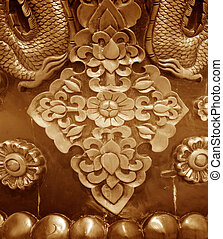 Wooden Carving Thailand traditional pattern Abstract brown...