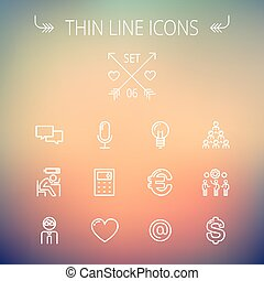 Business thin line icon set - Business thin line icon set...