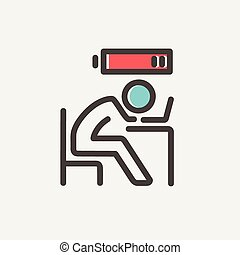 Businessman in low power thin line icon - Businessman in low...