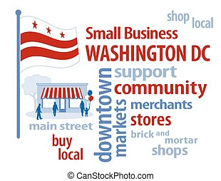 Washington DC Flag Small Business - Small Business word...
