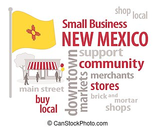 New Mexico Flag Small Business - Small Business word cloud...