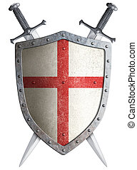 old medieval crusader shield and two crossed swords isolated...