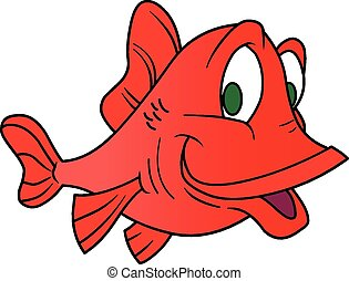 Happy Fish Cartoon Character