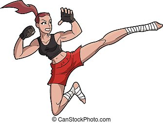 Beautiful Female MMA Fighter - This is a vector illustration...