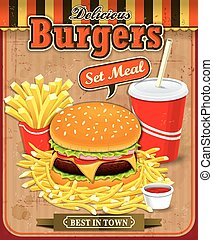 Vintage Burgers with fries and drin