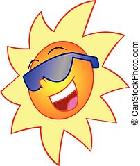 Smiling Sun - This is a vector illustration of a happy and...