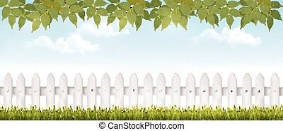 Long white fence banner with grass and fence. Vector.