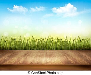 Wooden deck in front of green grass and blue sky background