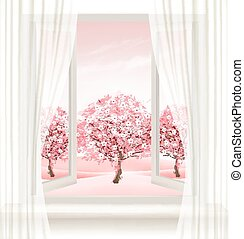 Spring background with an open window and blossoming pink...