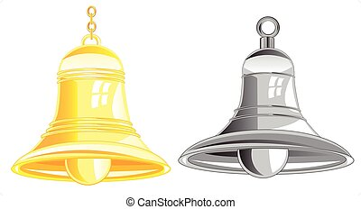 Two bells from metal on white background is insulated