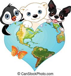 Earth heart with animals - Illustration of earth in the form...