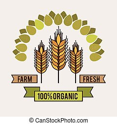 Organic food design over white background, vector...