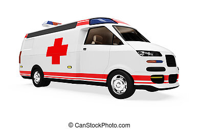 concept, isolé, avenir, camion,  ambulance, vue