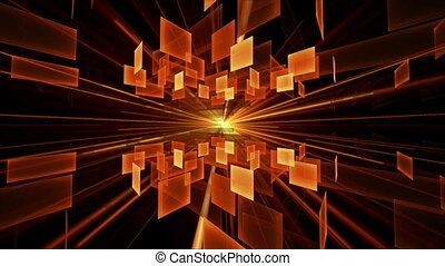 Orange Cubes in Rotation, Geometric - Fiery orange cubic...