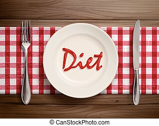 diet word written by ketchup on a plate