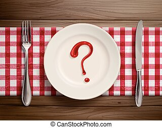 question mark drawn by ketchup on a plate - top view of...