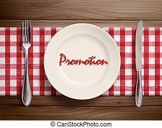 promotion word written by ketchup on a plate
