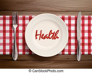 health word written by ketchup on a plate