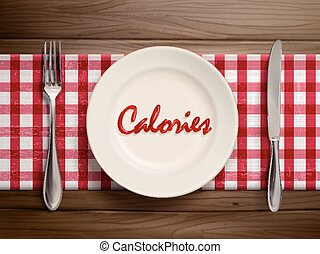 calories word written by ketchup on a plate