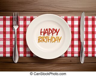 happy birthday written by ketchup on a plate
