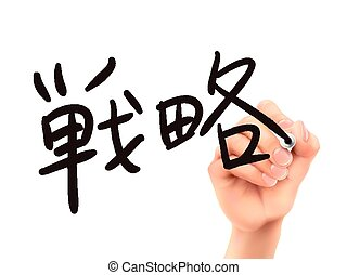 Japanese words for Strategy written by 3d hand on a...
