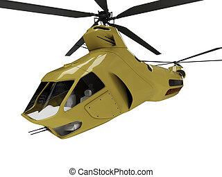 Future concept of helicopter isolated view - Isolated...