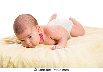 Newborn baby with torticollis neck - Laying newborn baby two...