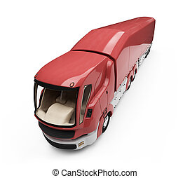 Future concept of cargo truck isolated view