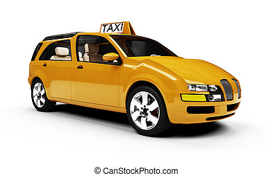 Future concept of taxi car isolated view - Isolated taxi cab...