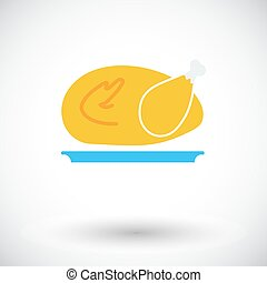 Chiken. Single flat icon on white background. Vector...