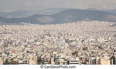 Top view of streets of Athens, Greece. Movement of the...