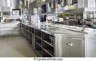 Professional kitchen, view counter in steel - Professional...