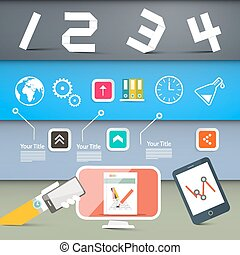 Web Page Layout with Technology Icons on Colorful Papers Background