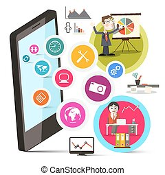 Mobile Cell Phone with Circle Colorful Icons and Business People Vector Illustration