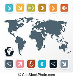 Vector World Map with Paper Colorful Arrows on Light Background